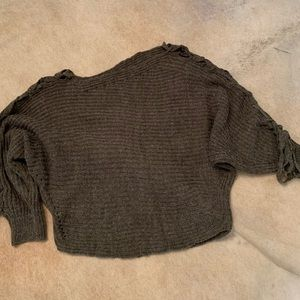 Olive green cropped sweater.